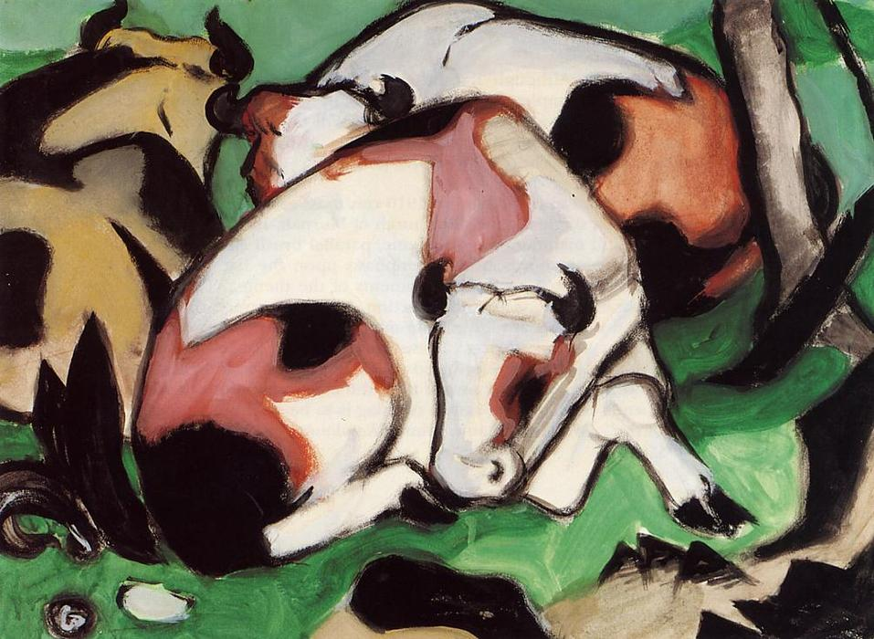 Ruhende枯涸(又名Kauernder Steir), 油 通过 Franz Marc (1880-1916, Germany)