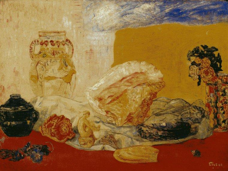 Coquillages 玫瑰 等 花瓶 通过 James Ensor (1860-1949, Belgium) | WahooArt.com