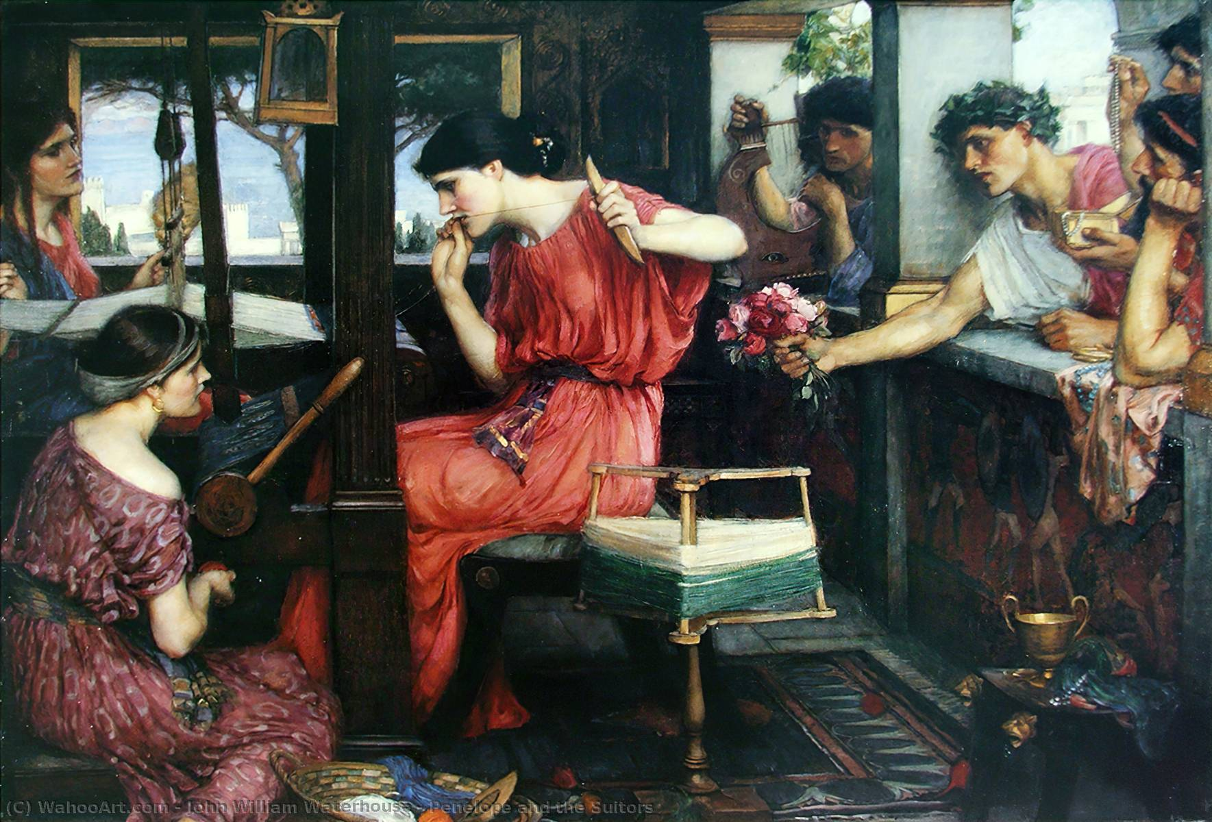 佩内洛普和求婚者, 1912 通过 John William Waterhouse (1849-1917, Italy) | 油畫 John William Waterhouse | WahooArt.com