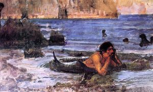 顺序 手工油畫 | 人鱼(素描), 1892 通过 John William Waterhouse (1849-1917, Italy) | WahooArt.com
