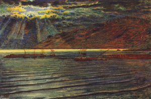 William Holman Hunt - Fishingboats 借着月光