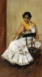 William Merritt Chase - 一个  西班牙  女孩 又名 夫人的画像 . 追逐 在  西班牙 礼服