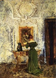 William Merritt Chase - 女性 在  绿色 又名  女士  在  绿色