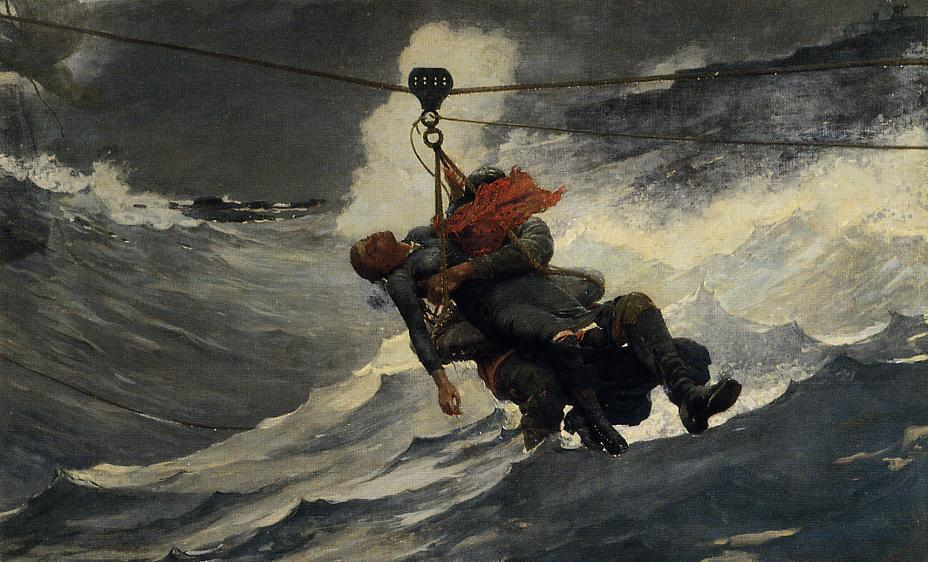 生命线, 1884 通过 Winslow Homer (1836-1910, United States) | 畫再現 | WahooArt.com