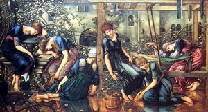 Edward Coley Burne-Jones -  的 garden 法庭  从 传说 荆棘 上升