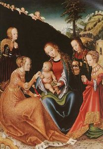Lucas Cranach The Elder -  的 神秘  婚姻  st.  凯瑟琳