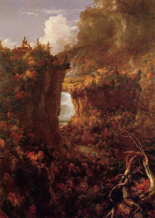 上杰纳西瀑布的Portage, 1839 通过 Thomas Cole (1801-1848, United Kingdom) | 手工油畫 Thomas Cole | WahooArt.com