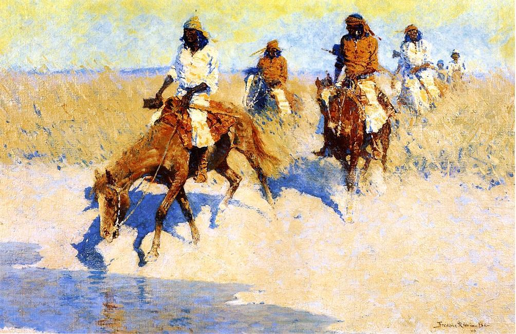 pool`  在 沙漠, 油画 通过 Frederic Remington (1861-1909, United States)