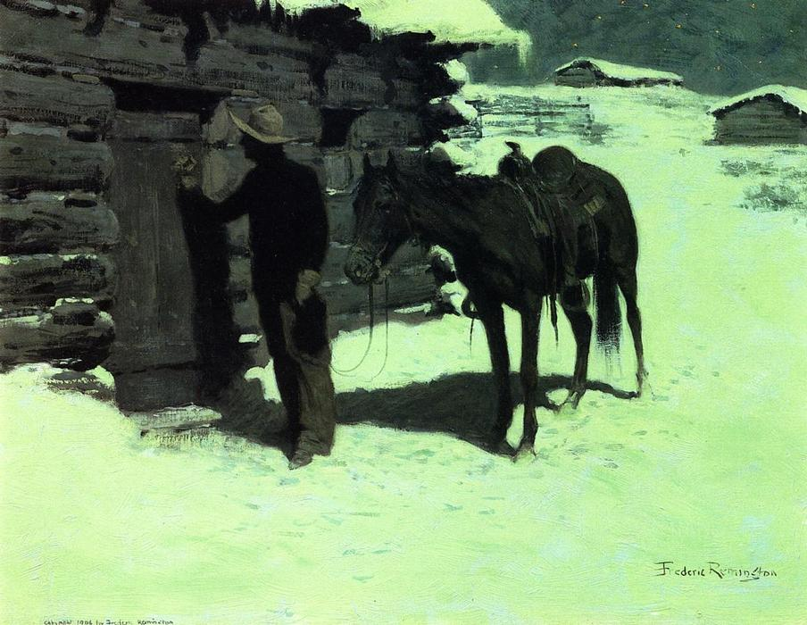 迟来的旅行者, 油 通过 Frederic Remington (1861-1909, United States)
