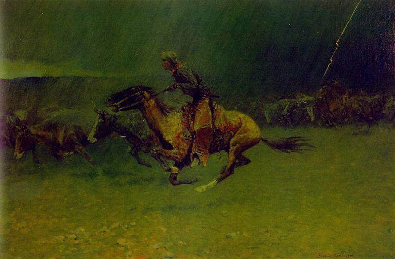 踩踏, 油 通过 Frederic Remington (1861-1909, United States)
