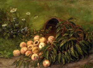Thomas Worthington Whittredge - 静物  与 `peaches`