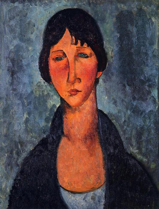 蓝色衬衫, 1917 通过 Amedeo Modigliani (1884-1920, Italy) | 手工畫 | WahooArt.com