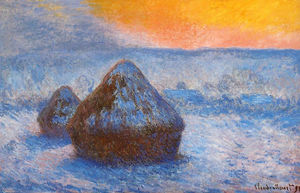 Claude Monet - Grainstacks 在  日落 , 雪效应