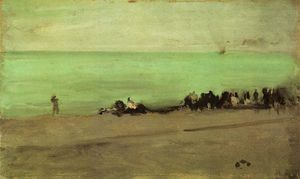 James Abbott Mcneill Whistler - 蓝色和银色。船进入Pourville