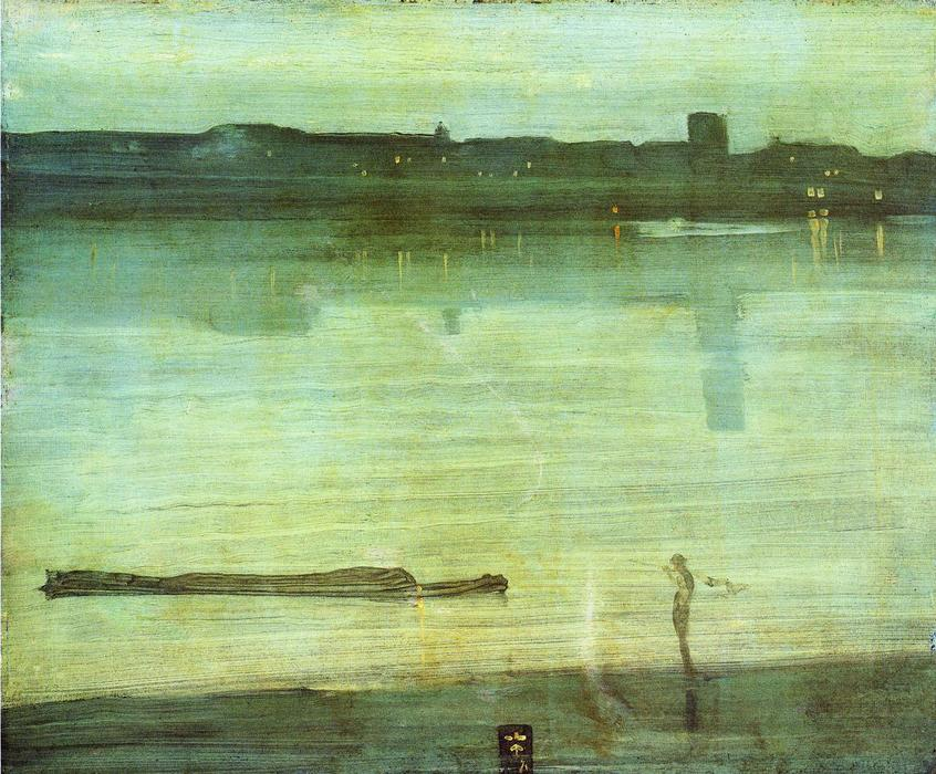 nocturne` 在  蓝色  和  绿色, 1871 通过 James Abbott Mcneill Whistler (1834-1903, United States) | WahooArt.com