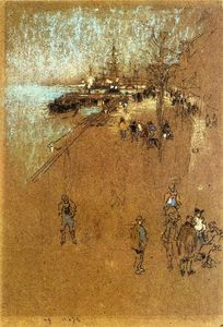 James Abbott Mcneill Whistler - 该的zattere 和谐  在  蓝色  和  棕色