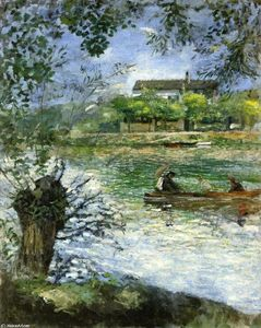 Pierre-Auguste Renoir - willows`  和 数字  在  船