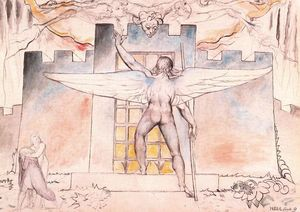 William Blake -  的 Angel 在大门口 of Dis