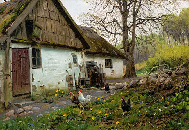 Bromolle 农场  与 鸡, 油 通过 Peder Mork Monsted  (顺序 美術 幀畫冊專輯 Peder Mork Monsted)