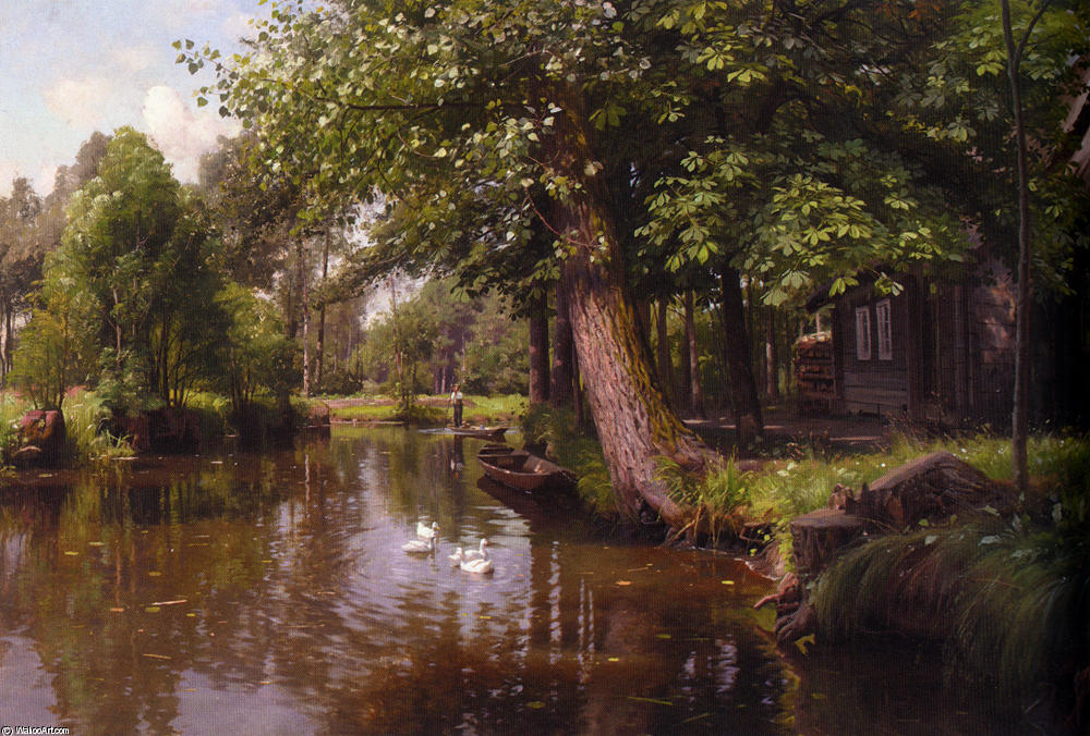 Flodbred 通过 Peder Mork Monsted (1859-1941, Denmark) | 幀打印 | WahooArt.com