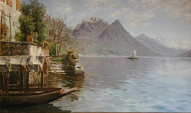 Gandria拉戈迪卢加诺 通过 Peder Mork Monsted (1859-1941, Denmark) | 傑作拷貝 | WahooArt.com