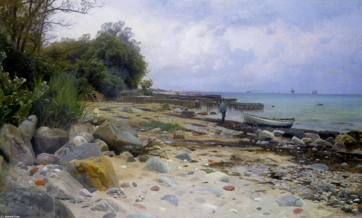 望着大海, 油 通过 Peder Mork Monsted (1859-1941, Denmark)