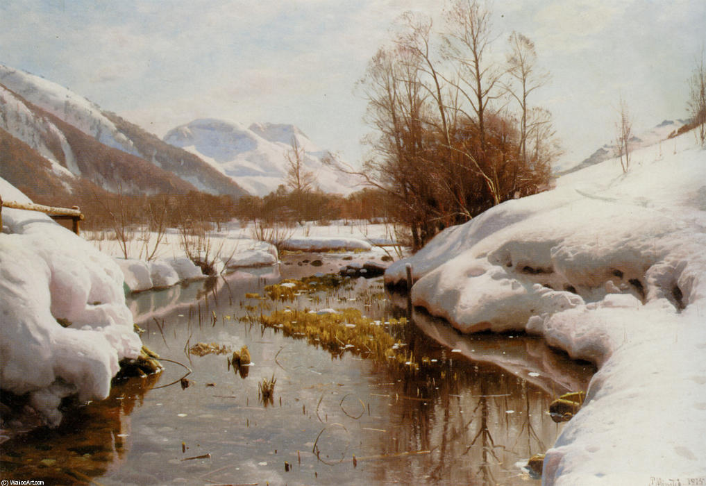 Snedaekket Flodbred, 油 通过 Peder Mork Monsted (1859-1941, Denmark)