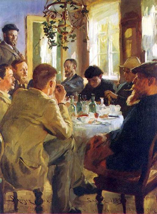 Almuerzo CON pintores德斯卡恩, 油 通过 Peder Severin Kroyer (1851-1909, Norway)