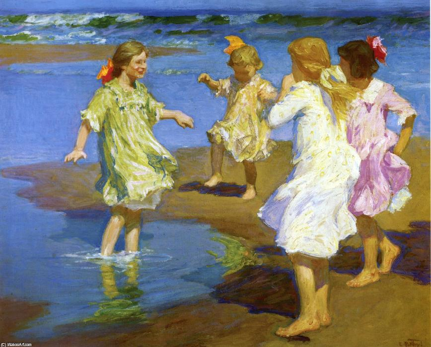 女孩  在 河岸 通过 Edward Henry Potthast (1857-1927, United States) | 畫再現 | WahooArt.com