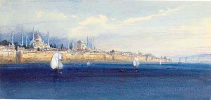 哈迈德清真寺和圣索非亚大教堂, 绘画 通过 Edward Lear 1812 1888