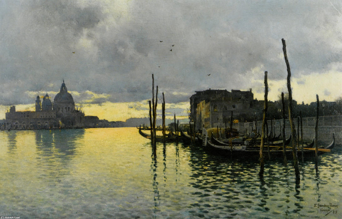 Evening_Looking_Towards_the_Grand_Canal_with_Santa_Maria_Della_Salute_in_the_Distance 通过 Emilio Sanchez-Perrier (1855-1907, Spain)