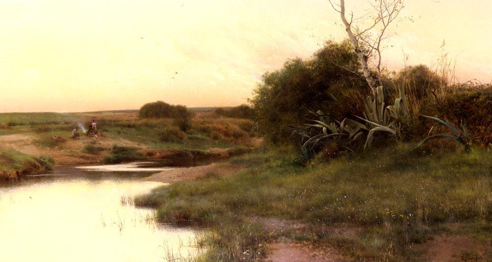 上 River's 边缘 傍晚 通过 Emilio Sanchez-Perrier (1855-1907, Spain)