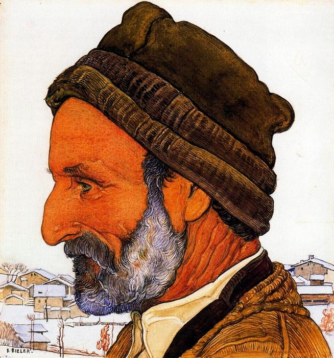 的 Man 在 毛皮 帽 通过 Ernest Bieler (1863-1948, Switzerland)