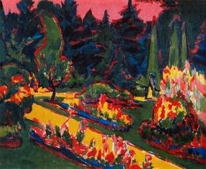Ernst Ludwig Kirchner - flowerbeds`  在  公园 在  德累斯顿