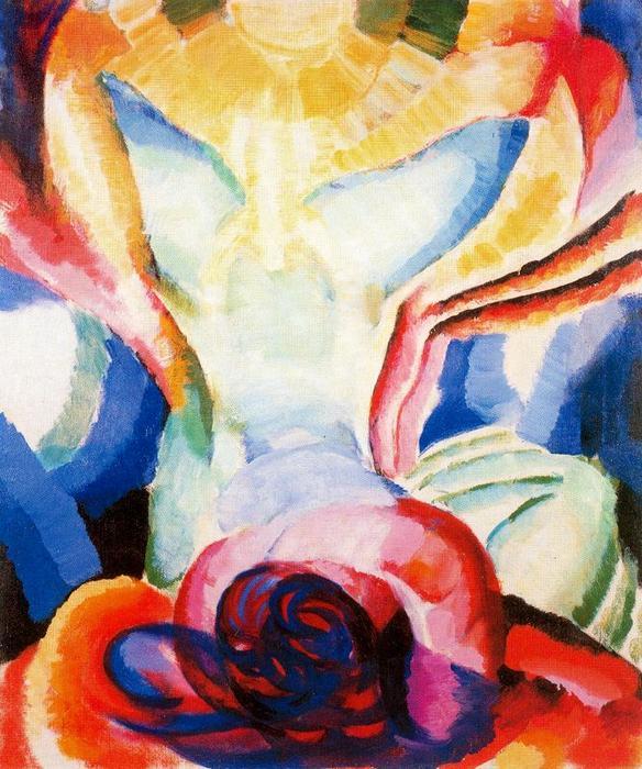 库普卡 画的 有色 一 十 年 之后飞机 通过 颜色 , 大 裸体 . 通过 然后 他 有 采纳 一个 更多 大胆 抽象模式 的 人物画 代表 . ( 他 会 决不 放弃 主题 事 共 , 然而 , 不比 纯 abstractionists 如 皮特 蒙德里安 . ) 的 有色 一 还 描绘 一个 女性 裸体 , 这 一 说谎 在她的 回来 腿 拉长 向上 , 摇篮 一个 辐射的 黄色太阳 .