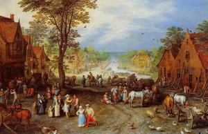 Jan Brueghel The Elder - 村庄  街  与 运河