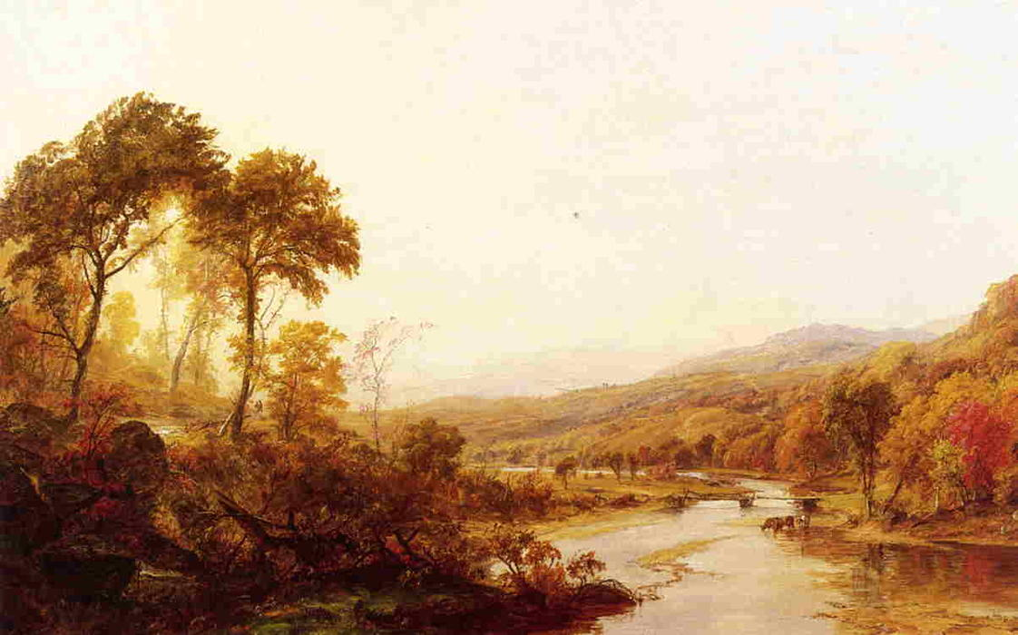 headwaters`  的 哈德森, 布面油画 通过 Jasper Francis Cropsey (1823-1900, United States)