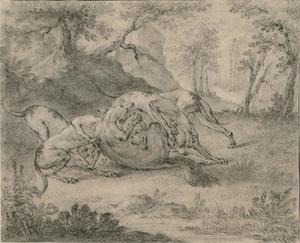 Jean-Baptiste Oudry -  四 狗  和 `wolf`