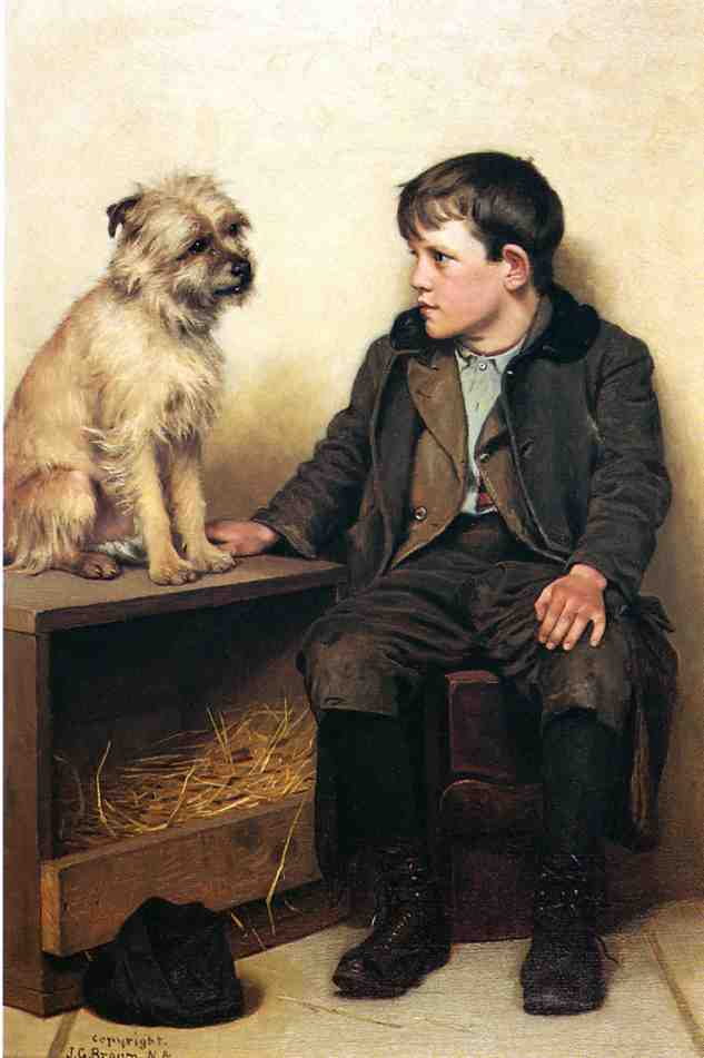 一个Confab, 油画 通过 John George Brown (1831-1913, United Kingdom)