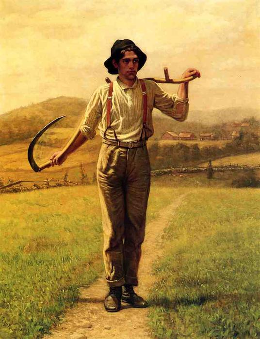 Fieldhand与Sythe, 1909 通过 John George Brown (1831-1913, United Kingdom) | WahooArt.com