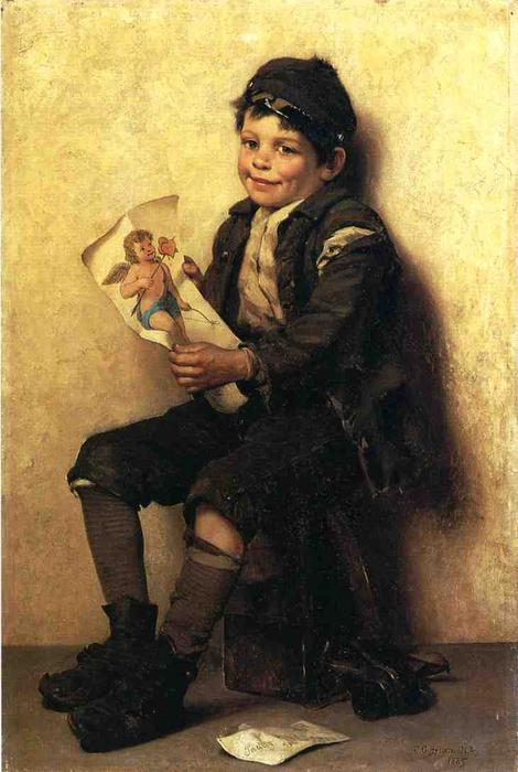 帕迪情人节, 油画 通过 John George Brown (1831-1913, United Kingdom)