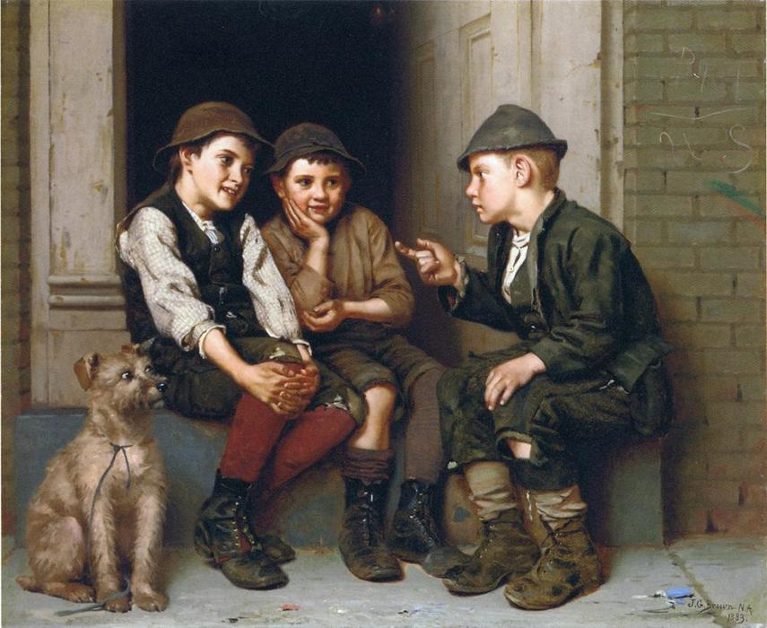 绘图恶作剧, 1883 通过 John George Brown (1831-1913, United Kingdom) | WahooArt.com