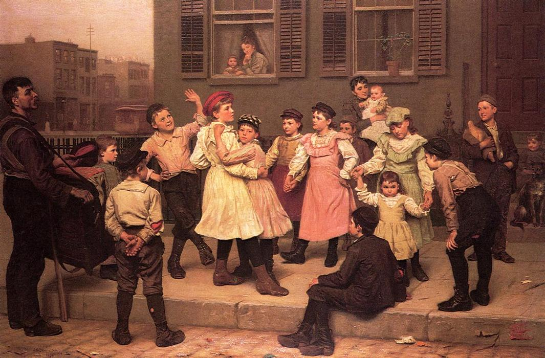 人行道上舞(又名人行道舞) 通过 John George Brown (1831-1913, United Kingdom) | WahooArt.com