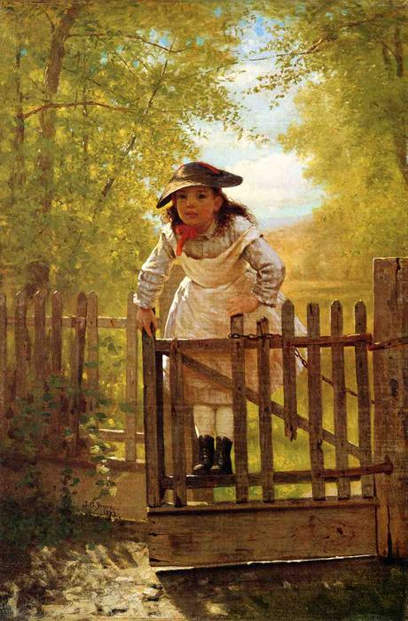 假小子, 油画 通过 John George Brown (1831-1913, United Kingdom)