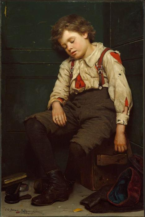 Tuckered出 擦皮鞋的男孩 通过 John George Brown (1831-1913, United Kingdom) | WahooArt.com
