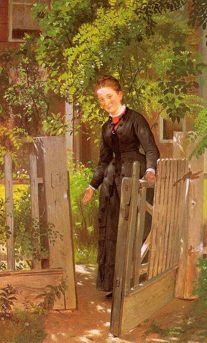 走路 在, 布面油画 通过 John George Brown (1831-1913, United Kingdom)