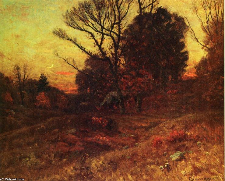 秋天的黄昏,森林内部, 油画 通过 john joseph enneking (1841-1916