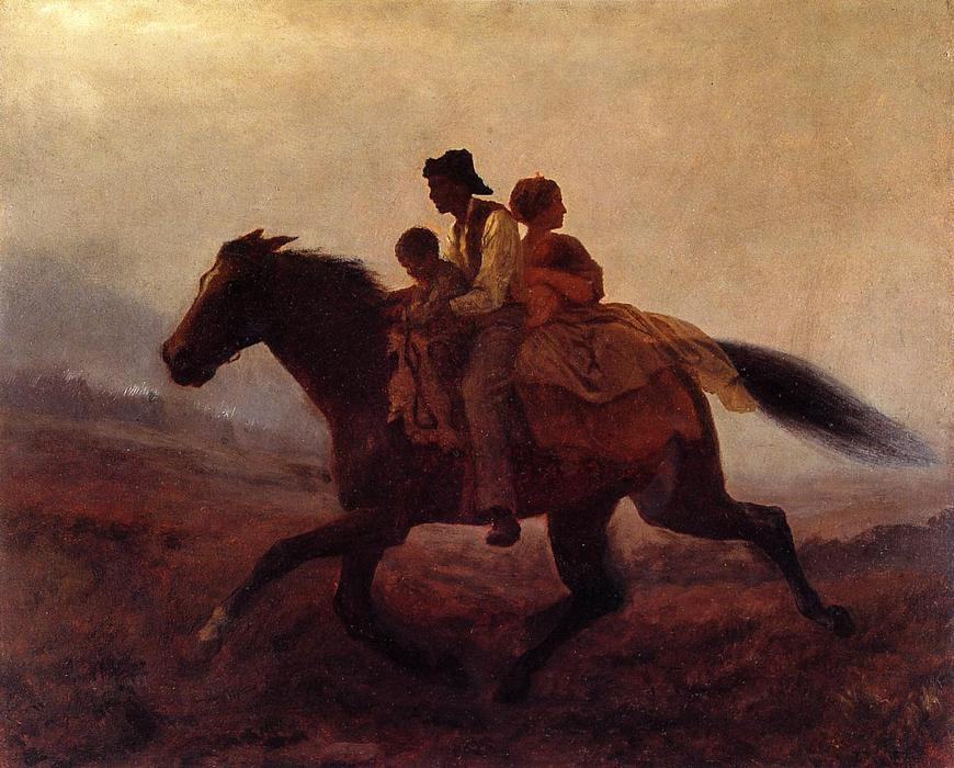 一个 骑  为 Freedom - 亡命天涯 奴隶 通过 Jonathan Eastman Johnson (1824-1906, United Kingdom) | 幀畫冊專輯 | WahooArt.com