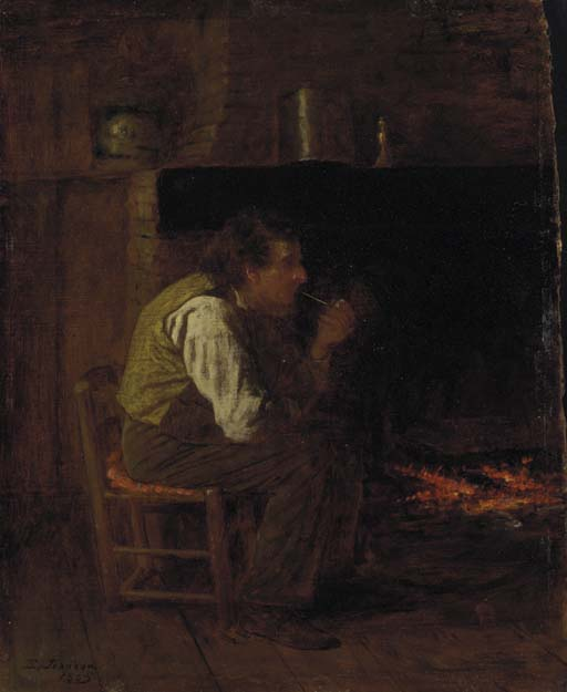 缅因州内政部(男子用钢管) 通过 Jonathan Eastman Johnson  (顺序 美術 幀畫冊專輯 Jonathan Eastman Johnson)