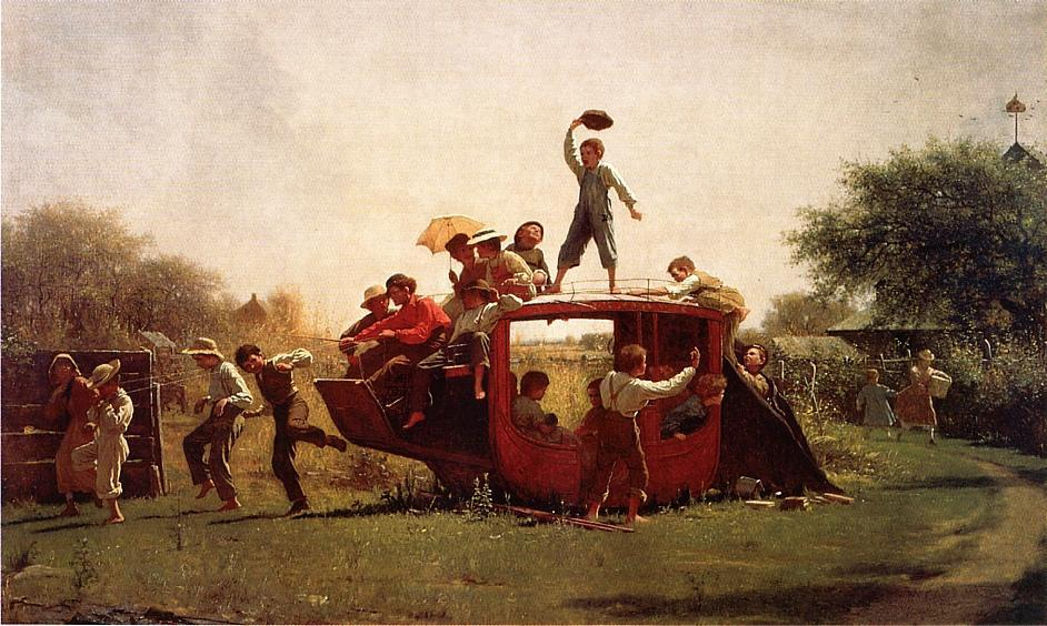 老人 马车 , 1871 通过 Jonathan Eastman Johnson (1824-1906, United Kingdom) | 畫再現 | WahooArt.com